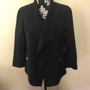 Calvin Klein Navy Blue Drape Open Front Blazer